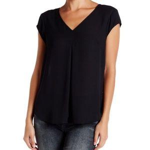 Cap Sleeve V-Neck Blouse - Black